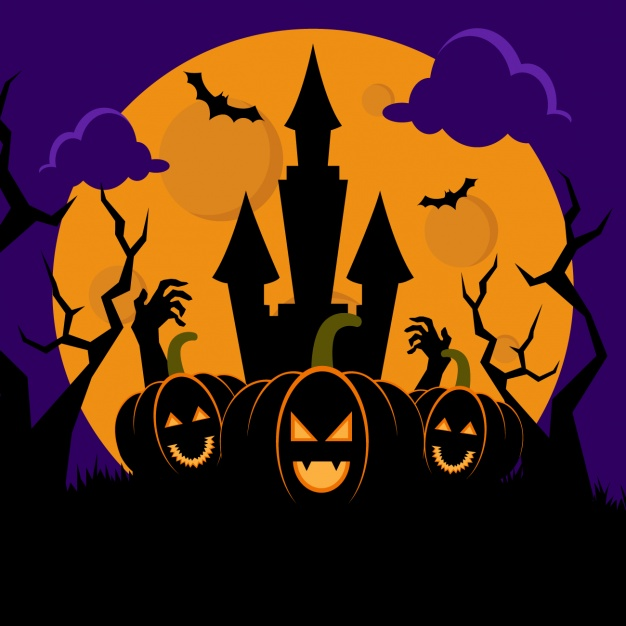 halloween-night-background-with-haunted-house-and-pumpkins-free-vector