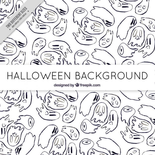 sketches-background-for-halloween-ghosts-free-vector