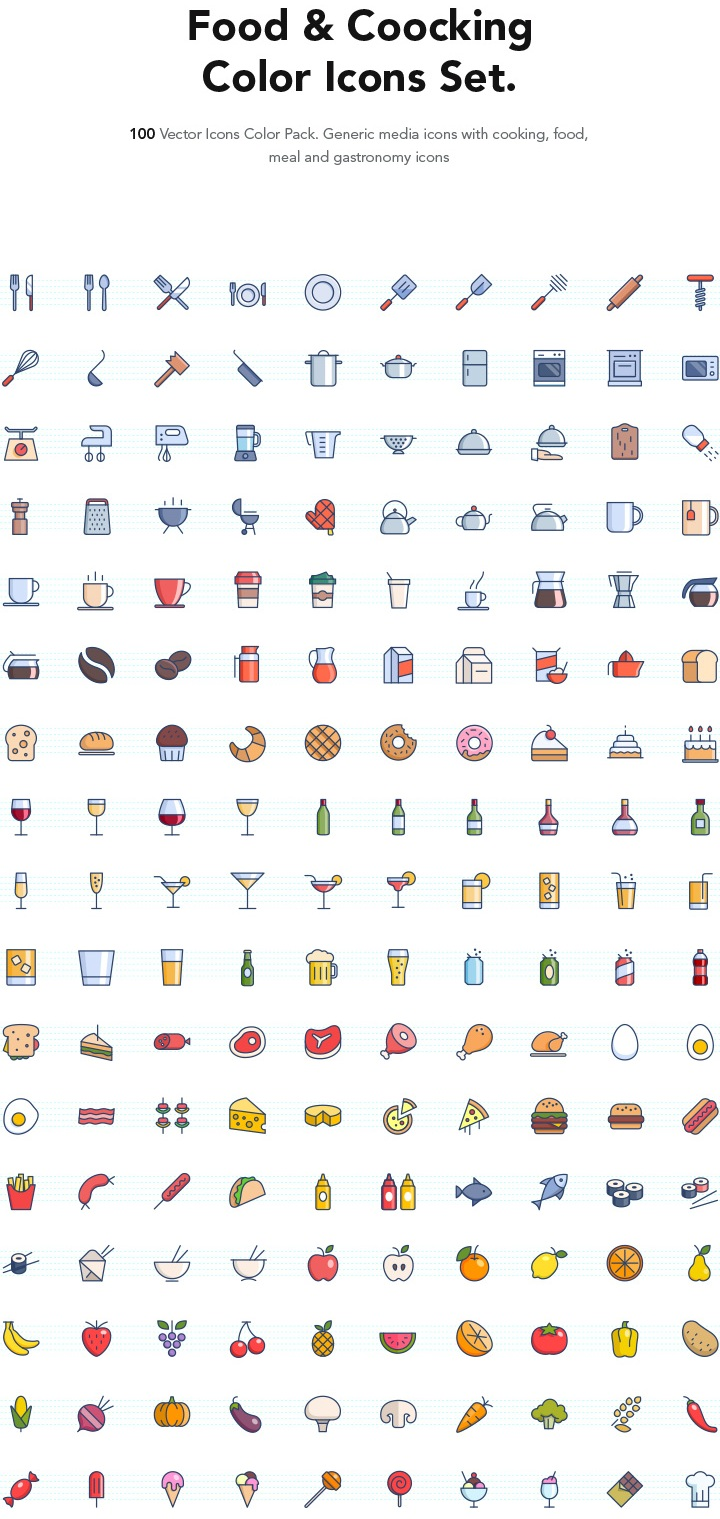 the-color-icons-set-food
