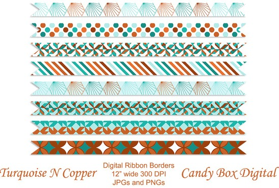 turquoise-n- copper-premium-ribbon-borders