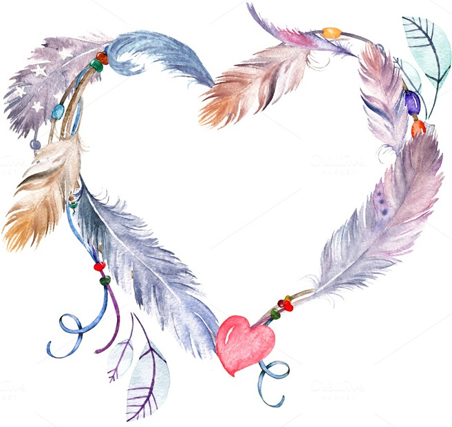 watercolor-feathers-heart-premium-objects1