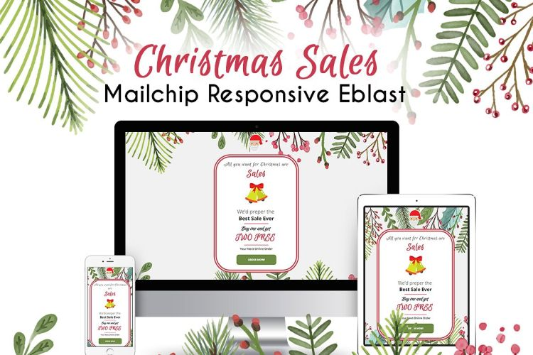 Christmas email templates for the upcoming holiday mailing for Mailchimp ecommerce templates