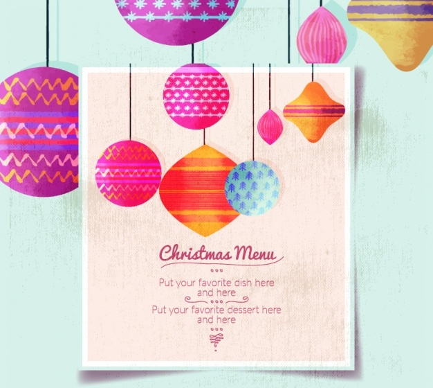 christmas-menu-template-with-balls-in-retro-style-free-vector