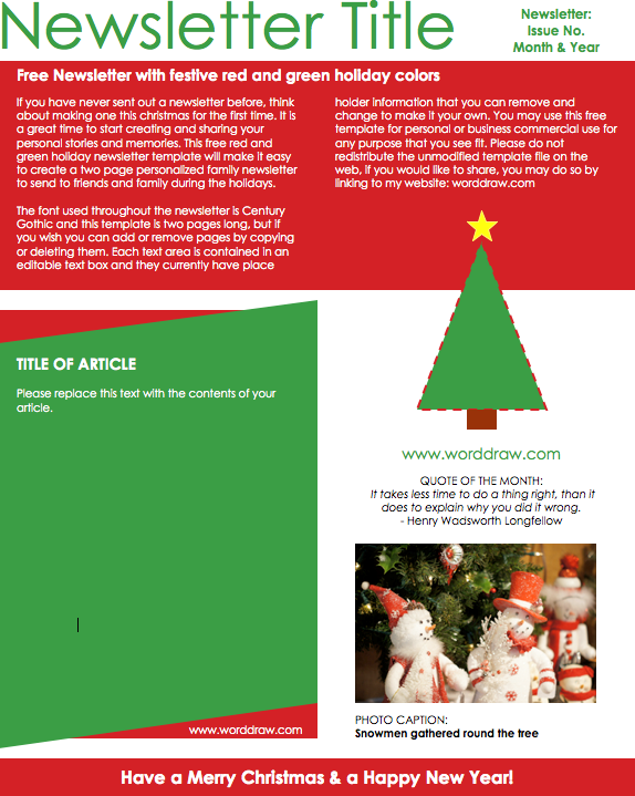 christmas newsletter 3 free email template