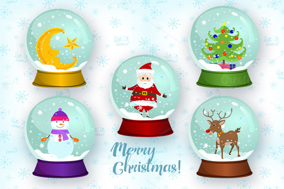 christmas-snow-globes-premium-vector-set