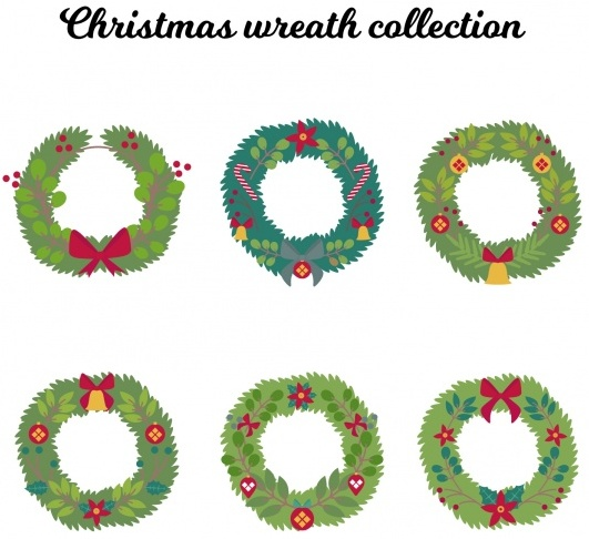 collection-of-natural-hand-drawn-christmas-wreaths-free-vector