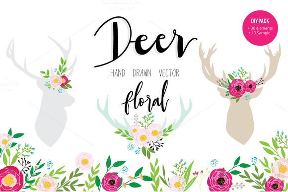 deer-and-floral-hand-drawn-premium-vector