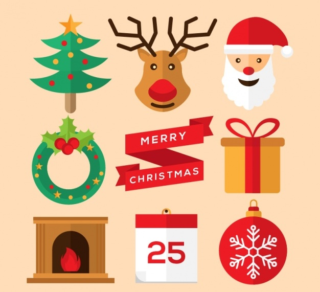 flat-cute-christmas-elements-free-vector