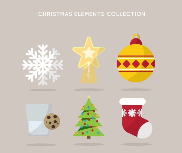 pack-of-christmas-elements-in-flat-design-free-vector