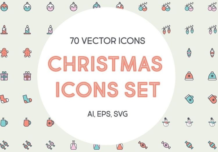 70 vector Christmas Icons