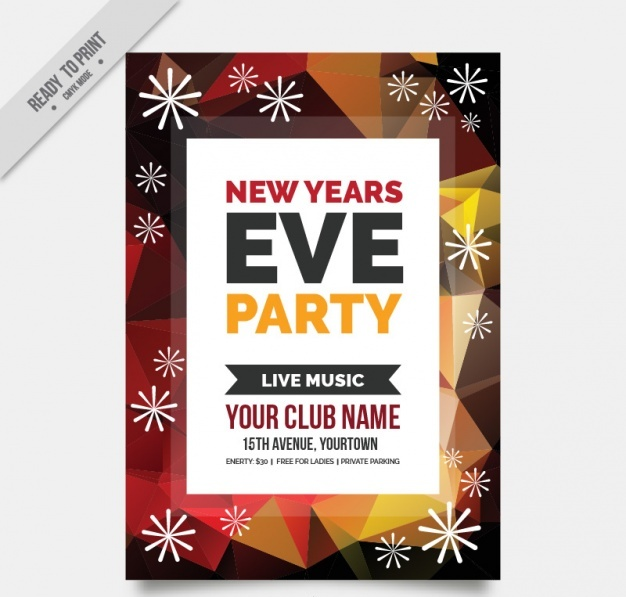 Abstract new year party brochure Free Vector