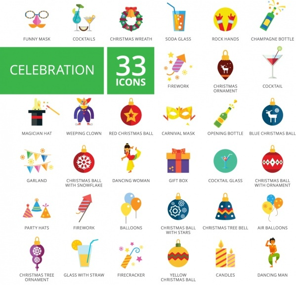 Celebration icons collection Free Vector