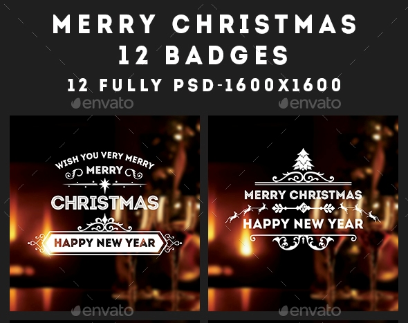 Christmas & New Year Sticker Badges