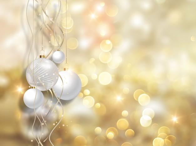 Christmas balls and golden lights Free Photo1