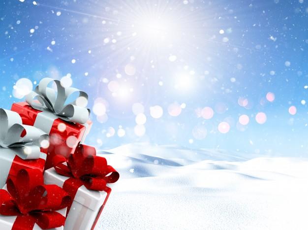 Christmas gifts and lights Free Photo