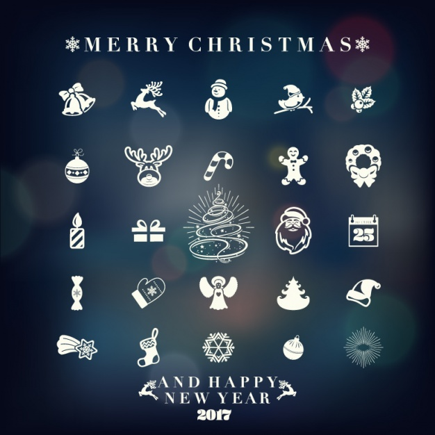 Christmas icons collection Free Vector1