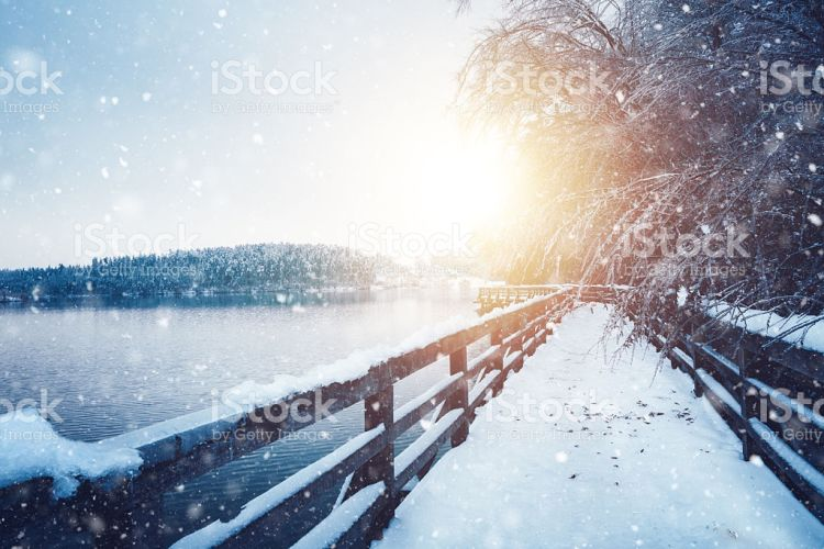 Idyllic Frozen Footpath - Stock Image