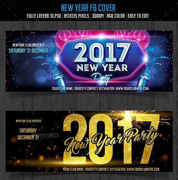 New Year Facebook Cover Set