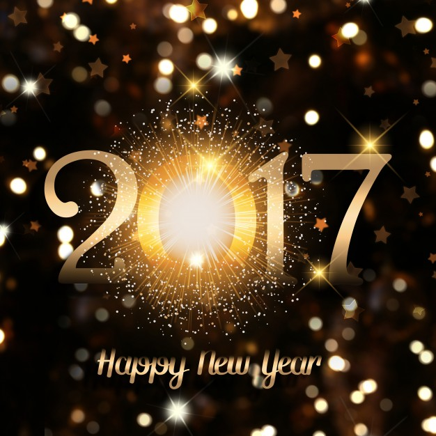 New year with golden numbers Free Photo
