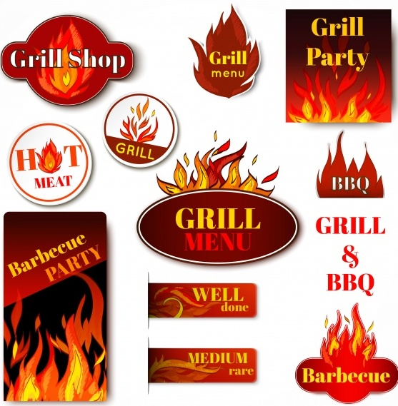 Barbecue badges Free Vector