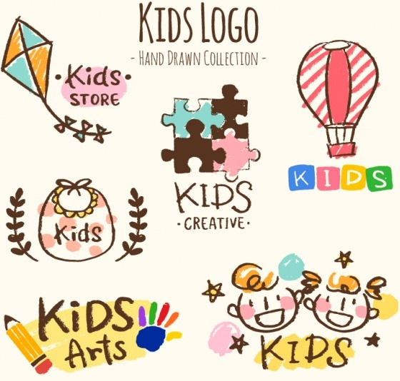 Hand-drawn collection of six kids logos Free Vector