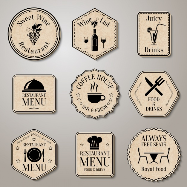 Restaurant vintage badges Free Vector