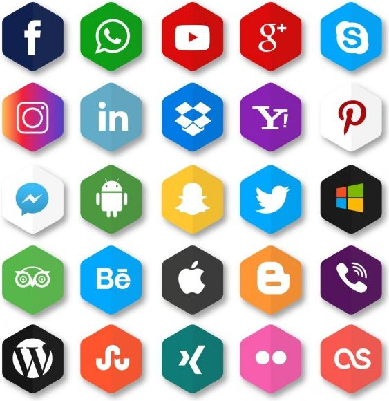 hexagonal-icons-for-social-networks