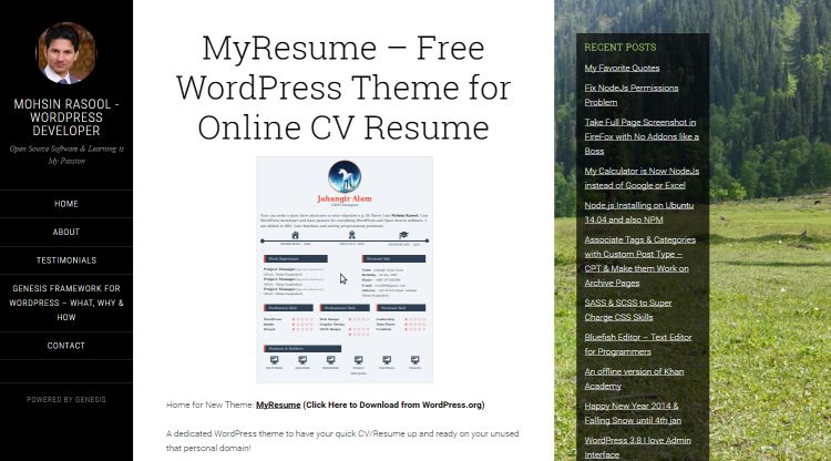 personal resume wordpress themes for 2017