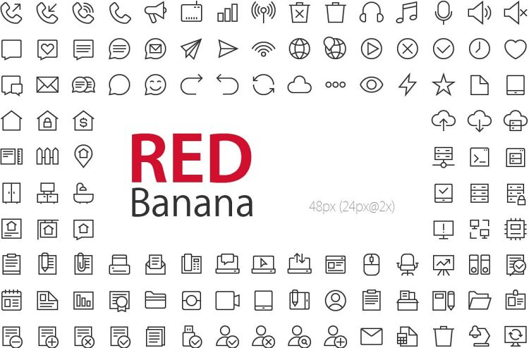 red-banana-icon-set