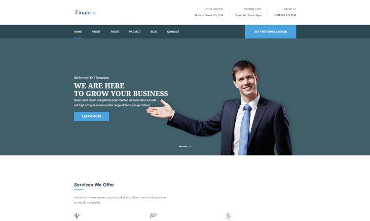 Best financial company and consulting wordpress themes for march a nice and creative business and finance wordpress theme best suited for corporate websites like consulting firms insurance loan tax help cheaphphosting Image collections