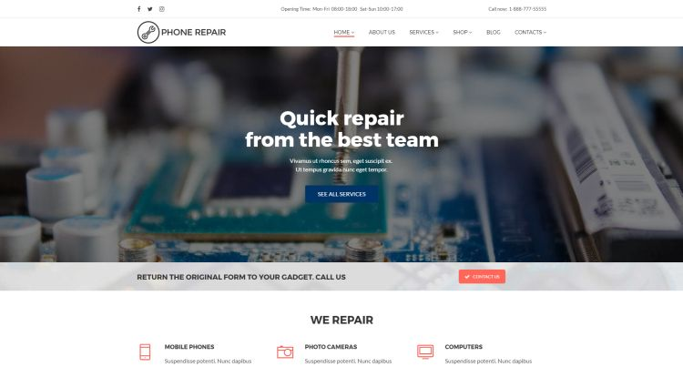 Computer And Mobile Repair Services Wordpress Themes Gt3
