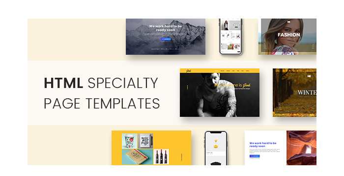 HTML Specialty Page Templates for Coming Soon, Resume, and More Pages