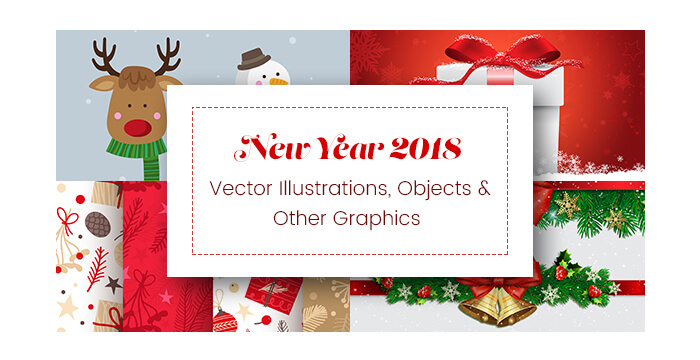 New Year 2018 Vector Illustrations, Objects and Other Graphics