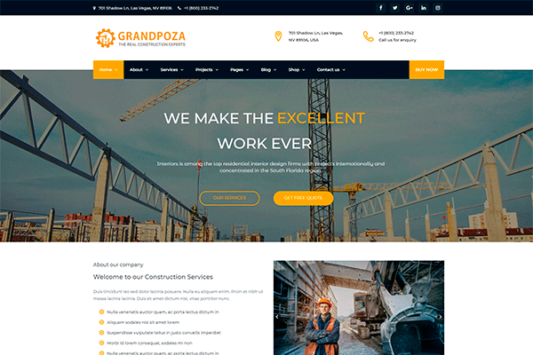 building and construction wordpress themes for private and