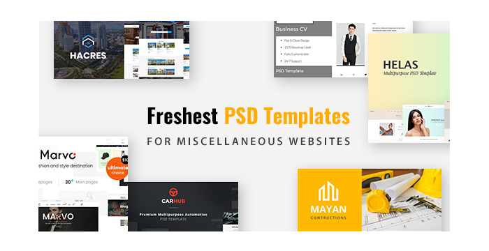 Freshest PSD Templates For Miscellaneous Websites