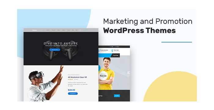 Marketing and Promotion WordPress Themes for Digital Agencies, Apps Developers, and More