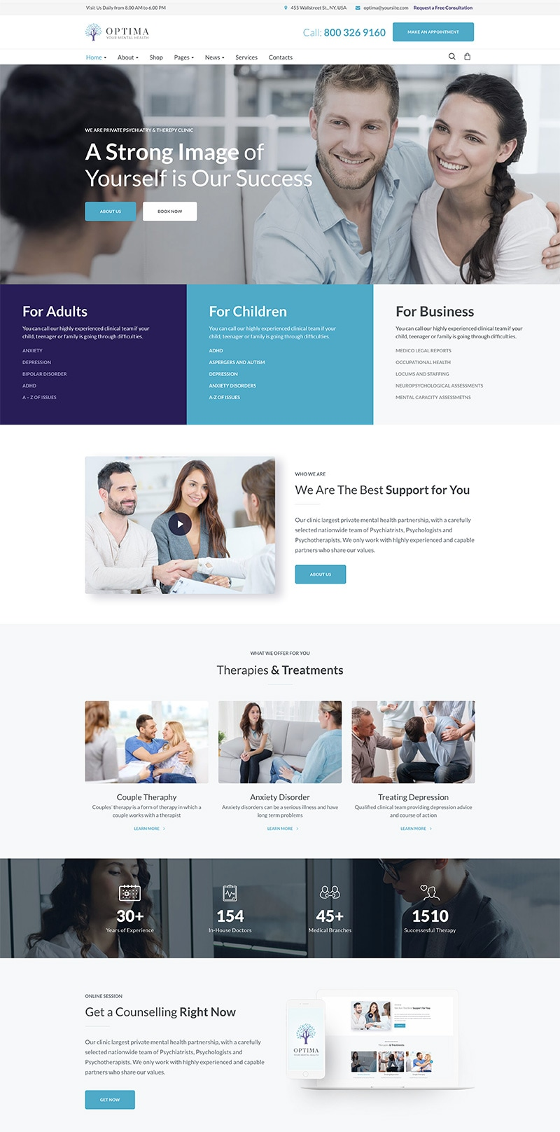 Optima - Psychologist & Psychology Center WordPress Theme