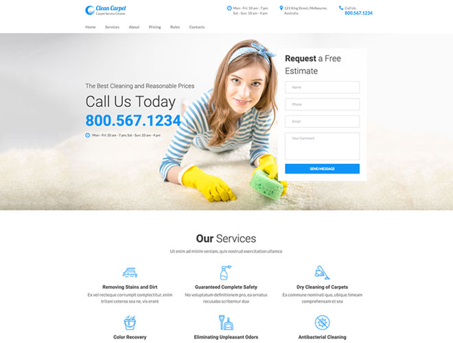 carpet cleaning services one page template